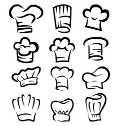 Collection of chef hat cartoon vector