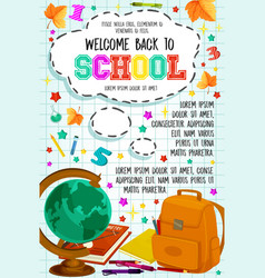 Back to school checkered page poster vector