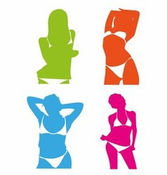 Bikini girl colorful set vector