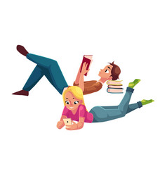 Boy man reading book and woman playing with vector