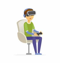 Boy wearing virtual reality glasses - cartoon vector