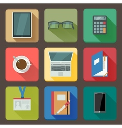 Business set of workplace icons vector