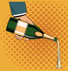 Champagne toast pop art vector