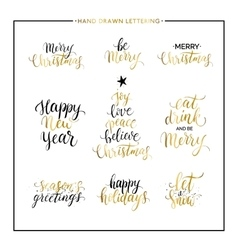 Christmas and happy new year gold quotes vector