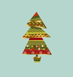 Christmas tree in patchwork style fir tree pattern vector