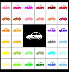 Electric car sign felt-pen 33 colorful vector
