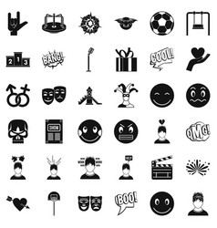 face emotion icons set simple style vector image vector image
