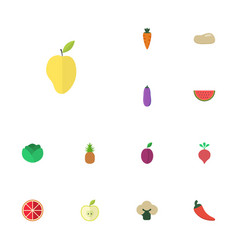 Flat icons praties mango ananas and other vector