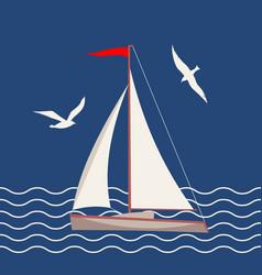Flat marine icon vector
