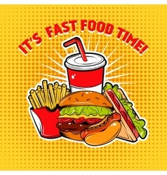 Food pop art poster vector