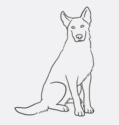 german shepherd sitting pet dog doodle style vector image vector image