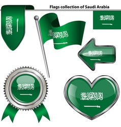 Glossy icons with Saudi Arabian flag vector image vector image