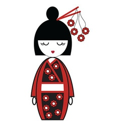 Japanese geisha doll with kimono with flowers and vector image vector image