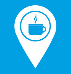 Map pin location with tea or coffee cup sign icon vector