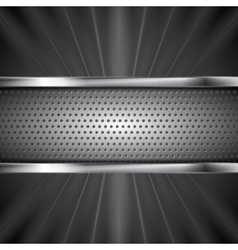 Metallic aluminum perforated banner and dark beams vector