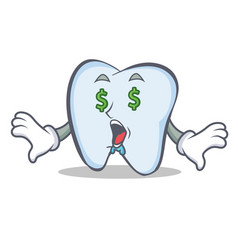 Money eye tooth character cartoon style vector