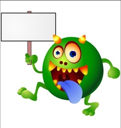 Monster with blank sign vector image vector image