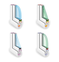 Plastic window frame profile set energy efficient vector
