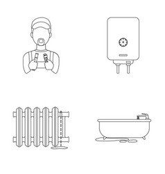 plumber boiler and other equipmentplumbing set vector image vector image