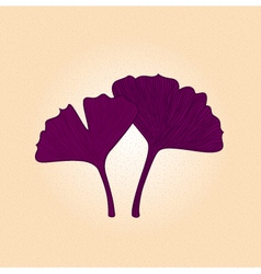 Purple gingko leaf isolated on brown background vector