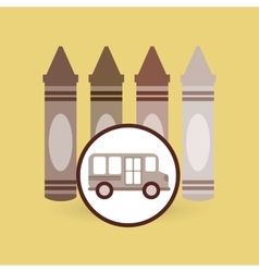 School bus icon crayons graphic vector