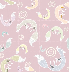 Seamless fox pattern c vector