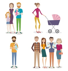 Set of people with family and kids on an isolated vector