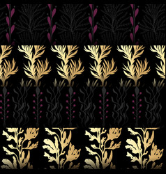 Set of seamless patterns with seaweeds vector