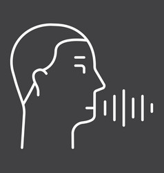 Speech recognition line icon voice control vector