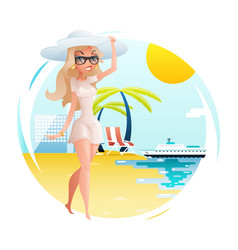 Sunny beach cute happy girl walk planning summer vector
