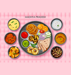 Traditional cuisine and food meal thali of madhya vector