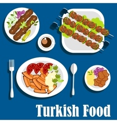 Traditional turkish dishes and coffee vector