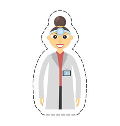 Cartoon doctor woman with head-mirror vector