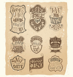Set of love vintage badges in sepia vector