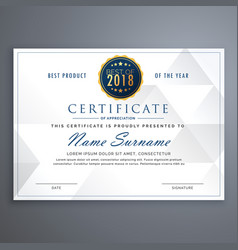 Clean white certificate design template vector