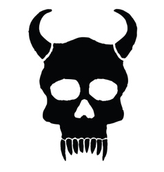 Monster skull with horns vector