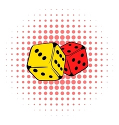 Red and yellow dice icon comics style vector