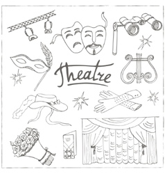 Hand drawn doodle theater set vector
