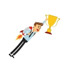 flying businessman with jetpack holding trophy cup vector image
