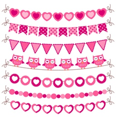 Bunting and garland pink set vector