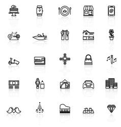 Birthday gift line icons with reflect on white vector