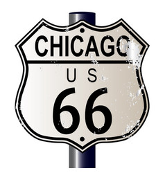 chicago route 66 highway sign vector image vector image
