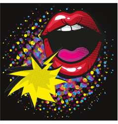 Comic lips shout speech bubble pop art on dot vector