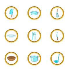 Cookware icons set cartoon style vector
