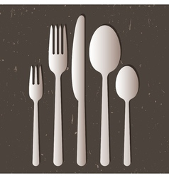 Cutlery on gray background vector image