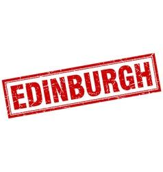 Edinburgh red square grunge stamp on white vector
