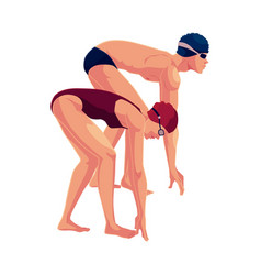 female swimmer in starting position ready do dive vector image vector image