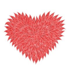fluffy red heart vector image vector image