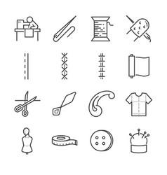 garment line icon set vector image vector image
