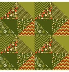 Green traditional ornament patchwork pattern vector